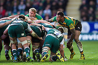 Courtney Lawes of Northampton Saints in action at a scrum. Aviva Premiership match, between Northampton Saints and Leicester Tigers on April 16, 2016 at Franklin's Gardens in Northampton, England. Photo by: Patrick Khachfe / JMP