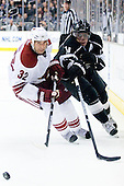 Anze Kopitar (Los Angeles Kings, #11) vs Michal Rozsival (Phoenix Coyotes, #32) during ice-hockey match between Los Angeles Kings and Phoenix Coyotes in NHL league, March 3, 2011 at Staples Center, Los Angeles, USA. (Photo By Matic Klansek Velej / Sportida.com)