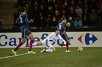 Lorient, France. - Sunday, February 8, 2015:  Abby Wambach (20) of the USWNT goes down in the box setting up a penalty kick. France defeated the USWNT 2-0 during an international friendly at the Stade du Moustoir.
