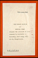 BNPS.co.uk (01202 558833)<br /> Pic: C&amp;T/BNPS<br /> <br /> Invitation to 'Cocktails' from Gen Ismay.<br /> <br /> A humble secretary's remarkable first hand archive of some of the most momentous events of WW2 has come to light.<br /> <br /> 'Miss Brenda Hart' worked in the Cabinet Office during the last two years of the war, travelling across the globe with the Allied leaders as the conflict drew to a close.<br /> <br /> Her unique collection of photographs and momentoes of Churchill, Stalin and other prominent Second World War figures have been unearthed after more than 70 years.<br /> <br /> The scrapbooks, which also feature Lord Mountbatten and Vyacheslav Molotov, were collated by Brenda Hart who, in her role as secretary to Churchill's chief of staff General Hastings Ismay, enjoyed incredible access to him and other world leaders.<br /> <br /> She also wrote a series of letters which give fascinating insights, including watching Churchill and Stalin shaking hands at the Bolshoi ballet in 1944, being behind Churchill as he walked out on to the balcony at the Ministry of Health to to wave to some 50,000 Londoners on VE day and even visiting Hitler's bombed out Reich Chancellery at the end of the war.<br /> <br /> This unique first hand account, captured in a collection of photos, passes, documents and letters are being sold at C&amp;T auctioneers on15th March with a &pound;1200 estimate.