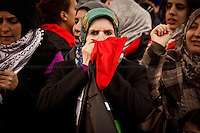 Protester - 2011<br /> <br /> London, 27/02/2011. Day of demonstrations and marches in support and solidarity with the Arab people. First, in the morning, MAC (Muslims Against Crusades) demonstrated outside the Libyan embassy. Second, Syrian people protested outside their embassy. Third, people from Algeria, Libya, and Egypt demonstrated together in Trafalgar Square. Last, Libyan people marched from Trafalgar Square to the Libyan embassy.