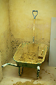 Plastering students' wheelbarrow and shovel, Able Skills, Dartford, Kent.
