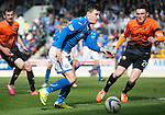 St Johnstone v Dundee United...19.04.14    SPFL<br /> Michael O'Halloran takes on Andy Robertson<br /> Picture by Graeme Hart.<br /> Copyright Perthshire Picture Agency<br /> Tel: 01738 623350  Mobile: 07990 594431