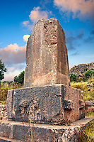 Inscribed Xanthian Obelisk pillar from 425-400 B.C with the longest know Lycian inscriptions. The inscription commemorates the wars fought by Kherei, a prince of Lycia. Xanthos UNESCO World Heritage Archaeological Site, Turkey