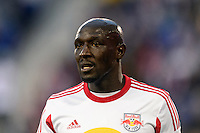 Ibrahim Sekagya (32) of the New York Red Bulls. The New York Red Bulls defeated the Chicago Fire 5-2 during a Major League Soccer (MLS) match at Red Bull Arena in Harrison, NJ, on October 27, 2013.