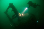 Conning tower on the wreck of the submarine HMS Swordfish, a war grave