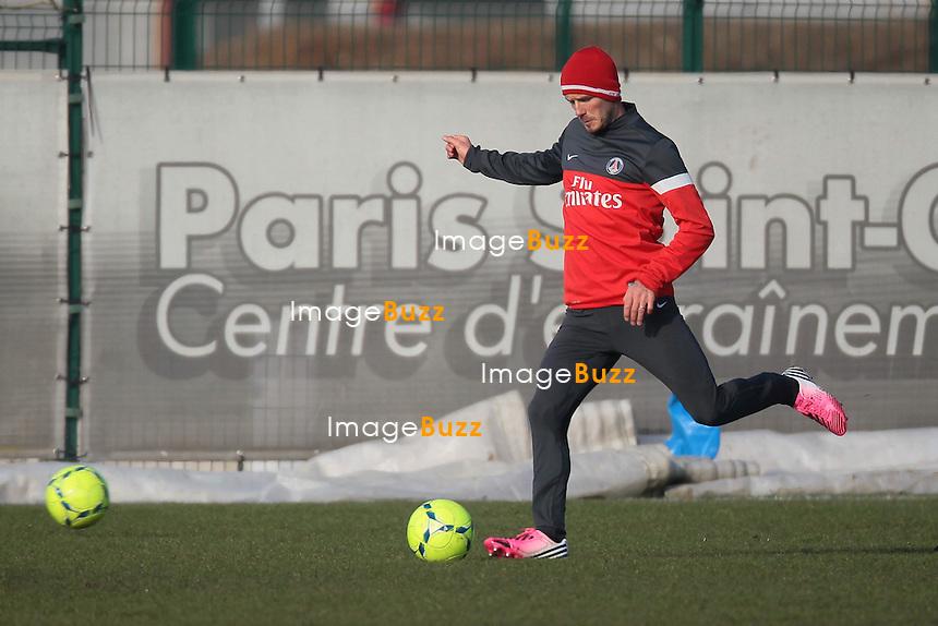 DAVID BECKHAM - David Beckham training for the first time with his new Paris Saint-Germain team-mates..France - Paris, February 13, 2013.