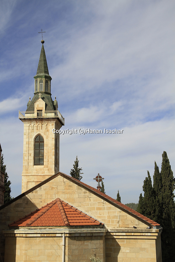 Israel, Ein Karem, the Franciscan Church of the Visitation as seen from the Russian Orthodox convent
