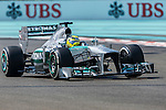Nico Rosberg of Germany and Mercedes AMG Petronas drives during the Abu Dhabi Formula One Grand Prix 2013 at the Yas Marina Circuit on November 3, 2013 in Abu Dhabi, United Arab Emirates. Photo by Victor Fraile / The Power of Sport Images
