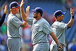 29 May 2011: San Diego Padres pitcher Heath Bell celebrates closing out the game against the Washington Nationals at Nationals Park in Washington, District of Columbia. The Padres defeated the Nationals 5-4 to take the rubber match of their 3-game series. Mandatory Credit: Ed Wolfstein Photo