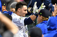 Shortstop Michael Paez (3) of the Columbia Fireflies is congratulated after hitting a home run in a game against the Augusta GreenJackets on Opening Day, Thursday, April 6, 2017, at Spirit Communications Park in Columbia, South Carolina. (Tom Priddy/Four Seam Images)