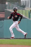 Rochester Red Wings designated hitter Byron Buxton (53) advances to second on a wild pitch against the Scranton Wilkes-Barre Railriders on May 1, 2016 at Frontier Field in Rochester, New York. Red Wings won 1-0.  (Christopher Cecere/Four Seam Images)