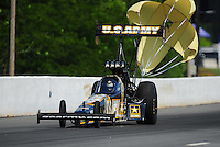 May 5, 2012; Commerce, GA, USA: NHRA top fuel dragster driver Tony Schumacher during qualifying for the Southern Nationals at Atlanta Dragway. Mandatory Credit: Mark J. Rebilas-