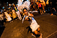A Brazilian girl dancer performs samba during the Carnival parade in the favela of Rocinha, Rio de Janeiro, Brazil, 20 February 2012. Rocinha, the largest shanty town in Brazil and one of the most developed in Latin America, has its own samba school called GRES Academicos da Rocinha. The Rocinha samba school is very loyal to its neighborhood. Throughout the year, the entire community actively participate in rehearsals, culture events and parades related to the carnival.