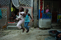 Port au Prince, Haiti, April 14, 2010.Daily life in 'Valé Bourdon', a poor neighboorhood almost totally destroyed by the earthquake.