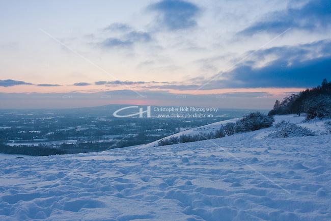 Snow scene over the Surrey Hills, England