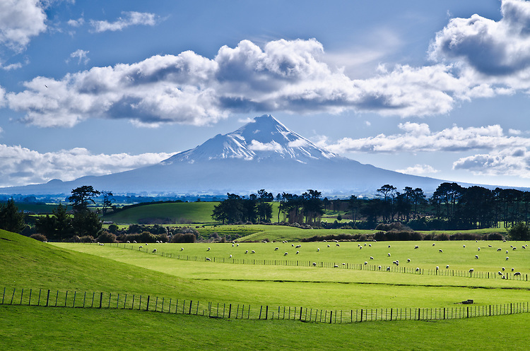 Farmland, Mount Taranaki (Egmont), North Island, New Zealand - stock photo, canvas, fine art print