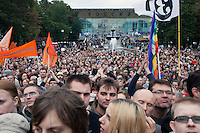 Moscow, Russia, 22/08/2010. .Scenes in Pushkin Square, where some 3,000 people gathered for a concert and protest against the destruction of part of Khimki Forest in northern Moscow as part of a motorway project. The concert was banned and police seized the performers' musical equipment, but unusually the anti-government protest was allowed to take place, although a number of opposition organisers were arrested on their way to the demonstration.