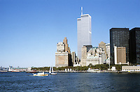 New York: World Trade Center Towers from Ferry. Photo '85.