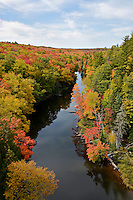 A view of the autumn colors and overlooking the Dead River Basin in Marquette highlands. Marquette, MI
