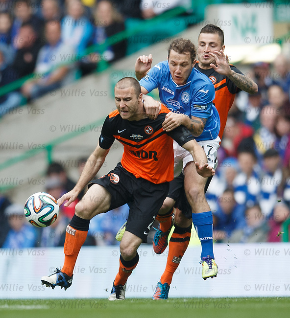Stevie May with Sean Dillon and Paul Paton