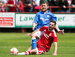 Aberdeen v St Johnstone...28.06.15  Glebe Park, Brechin..Pre-Season Friendly<br /> Tam Scobbie is tackled by Graeme Shinnie<br /> Picture by Graeme Hart.<br /> Copyright Perthshire Picture Agency<br /> Tel: 01738 623350  Mobile: 07990 594431