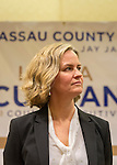 Uniondale, New York, USA. January 30, 2017. Nassau County Legislator LAURA CURRAN (D-Baldwin), 48, candidate for Nassau County Executive, receives endorsement from Democratic Party leaders. A primary is expected. Jay S. Jacobs, N. C. Democratic Committee Chairman, made the announcement backing Curren for County Exec and Jack Schnirman for County Comptroller. Curran is in her second term as Nassau County Legislator for 5th Legislative District.