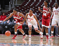 Indiana Hoosiers guard Jasmine McGhee (1) chases the ball alongside Ohio State Buckeyes guard Tayler Hill (4) in the first half of their game at the Value City Arena in Columbus, Ohio on January 17, 2013. (Columbus Dispatch photo by Brooke LaValley)