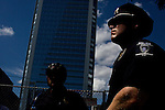 North Carolina Police stand guard during a protest march two days before the 2012 Democratic National Convention in Charlotte, N.C. on Sept. 2, 2012.