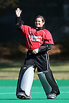 15 November 2014: Liberty's Mallory Cuccio. The University of North Carolina Tar Heels hosted the Liberty University Flames at Francis E. Henry Stadium in Chapel Hill, North Carolina in a 2014 NCAA Division I Field Hockey Tournament First Round game. UNC won the game 2-1.