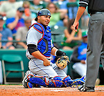 17 March 2009: New York Mets' catcher Omir Santos in action during a Spring Training game against the Atlanta Braves at Disney's Wide World of Sports in Orlando, Florida. The Braves defeated the Mets 5-1 in the Saint Patrick's Day Grapefruit League matchup. Mandatory Photo Credit: Ed Wolfstein Photo