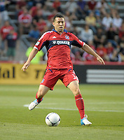 Chicago defender Dan Gargan (3) passes the ball.  The Chicago Fire defeated the Columbus Crew 2-1 at Toyota Park in Bridgeview, IL on June 23, 2012.
