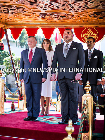 QUEEN RANIA AND KING ABDULLAH ll WITH KING MOHAMMED Vl<br />at the welcome ceremony, Royal Palace, Casablanca, Morocco<br />King Abdullah II and Her Majesty Queen Rania Al Abdullah were in Morocco on a working visit at an invitation by King Mohammed VI of Morocco_10/3/2015<br />Mandatory Photo Credit: &copy;Royal Hashemite Court/NEWSPIX INTERNATIONAL<br /><br />**ALL FEES PAYABLE TO: &quot;NEWSPIX INTERNATIONAL&quot;**<br /><br />PHOTO CREDIT MANDATORY!!: NEWSPIX INTERNATIONAL(Failure to credit will incur a surcharge of 100% of reproduction fees)<br /><br />IMMEDIATE CONFIRMATION OF USAGE REQUIRED:<br />Newspix International, 31 Chinnery Hill, Bishop's Stortford, ENGLAND CM23 3PS<br />Tel:+441279 324672  ; Fax: +441279656877<br />Mobile:  0777568 1153<br />e-mail: info@newspixinternational.co.uk