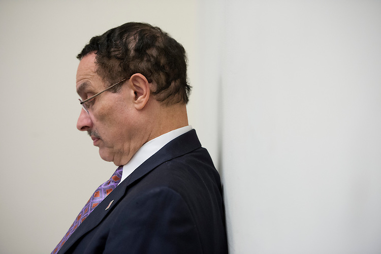 "UNITED STATES - MAY 29: DC Mayor Vincent Gray waits to speak during the news conference to oppose ""Republican riders targeting D.C.'s home-rule authority,"" on Tuesday, May 29, 2012. (Photo By Bill Clark/CQ Roll Call)"