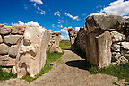 Photo of the Hittite releif sculpture on the Kings gate to the Hittite capital Hattusa 11