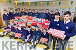 Ruairi Counihan and Conor O'Leary along with the boys from St Brendans College Killarney with their Shoeboxes full of goodies and who also donated to the Movember campaign