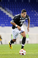 Marc Cintron (9) of the Providence Friars. The Providence Friars defeated the Cincinnati Bearcats 2-1 during the semi-finals of the Big East Men's Soccer Championship at Red Bull Arena in Harrison, NJ, on November 12, 2010.