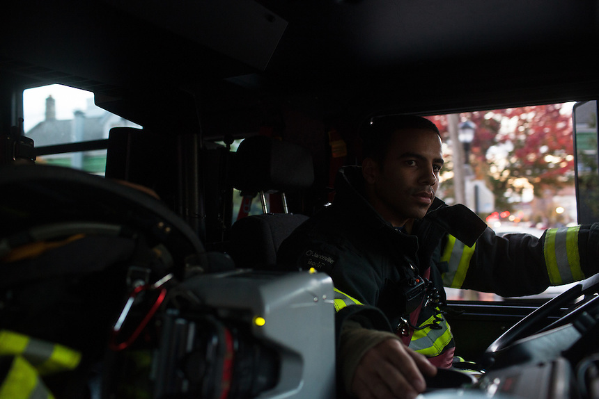 Probationary Fire fighter and veteran Victor Ramos practices driving the fire truck at the 16th Street Fire House of the North Hudson Regional Fire and Rescue in Union City, NJ on November 07, 2013. Many vets say after the military they&rsquo;re still looking for a career with a sense of public service. Some vets have found that at the North Hudson Regional Fire and Rescue in New Jersey.<br /> * please check whether we can publish this image&hellip;