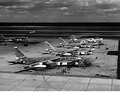 The Boeing B-47, the world's first swept-wing bomber, made its initial flight on December 17, 1947 and quantity deliveries began in 1951. When production ended in 1957, more than 1,200 Stratojets were serving with the Strategic Air Command at United States Air Force bases throughout the world. By the late 1960s, the B-47 was obsolete and was removed from operational service.  The B-47 normally carried a crew of three--pilot, copilot (who operated the tail turret by remote control), and an observer who also served as navigator, bombardier and radar operator. In the RB-47 reconnaissance version, the navigator also operated the camera equipment.  The B-47E was an improved version of the -B model. Improvements incorporated into the -E model Stratojet included a more powerful version of the General Electric J47 turbojet and Rocket Assisted Take Off (RATO) packs with 18 or 33 rockets which were jettisoned after use. Other features of the B-47E included 20mm cannons in the tail instead of the .50-caliber machine guns of the -B model and upgraded avionics including the A-5 fire control system..Credit: U.S. Air Force via CNP