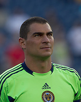 Philadelphia Union goalkeeper Faryd Mondragon (1). In a Major League Soccer (MLS) match, the Philadelphia Union defeated the New England Revolution, 3-0, at Gillette Stadium on July 17, 2011.