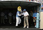 09 September 2006: North Carolina mascot Rameses (l) and head coach John Bunting (r) before the game. The University of North Carolina Tarheels lost 35-10 to the Virginia Tech Hokies at Kenan Stadium in Chapel Hill, North Carolina in an Atlantic Coast Conference NCAA Division I College Football game.