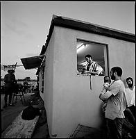 Shirat Ayam Settlement, Gaza strip Israel, Aug. 2005..The last evening prayer in the settlement before its evacuation.