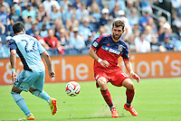 Kansas City, KS. - Sunday, July 6, 2014: Sporting Kansas City and Chicago Fire played to a 1-1 tie during a Major League Soccer (MLS) game at Sporting Park.