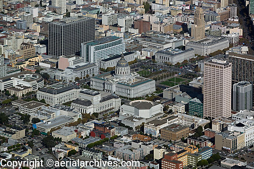 aerial photograph Civic Center  City Hall San Francisco, California