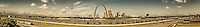 St. Louis city riverfront panorama looking west