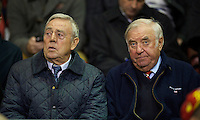 LIVERPOOL, ENGLAND - Thursday, October 4, 2012: Liverpool supporter and comedian Jimmy Tarbuck and former player Ian St. John watch the Reds take on Udinese Calcio during the UEFA Europa League Group A match at Anfield. (Pic by David Rawcliffe/Propaganda)