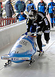 14 December 2006: Claudia Schramm, from Germany, pushes off at the start of a training run in preparation for the World Cup Bobsleigh Competition at the Olympic Sports Complex on Mount Van Hoevenburg  in Lake Placid, New York, USA.&amp;#xA;&amp;#xA;Mandatory Photo credit: Ed Wolfstein Photo<br />