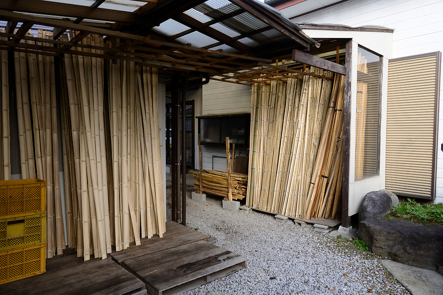 Wood used in bow making in the yard of Yokoyama Reimei Bowmakers, Miyakonojo, Miyazaki Prefecture, Japan, December 23, 2016. A handful of bowyers from the Kyushu city of Miyakonojo make over 90% of all the bows used in traditional Japanese archery. The bows are made from laminated bamboo and haze wood in process that consists of over 200 individual tasks. At over two meters from tip to tip the bows the longest used in the world.