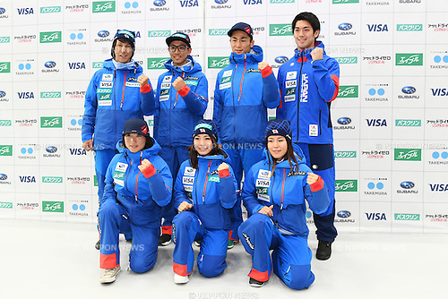 (Top L-R) <br /> Noriaki Kasai, <br /> Akito Watabe, <br /> Naoki Yuasa, <br /> Shinya Momono, <br /> (Bottom L-R)<br /> Masako Ishida, <br /> Sara Takanashi, <br /> Ayana Onozuka, <br /> NOVEMBER 1, 2016 - Skiing :<br /> 2016/2017 SAJ Team Japan TAKE OFF Press Conference<br /> at SUBARU STAR SQUARE, Tokyo, Japan.<br /> (Photo by AFLO SPORT)