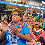 Delegates from Hawaii cheer during the Democratic National Convention in Charlotte, North Carolina on Tuesday, September 04, 2012.